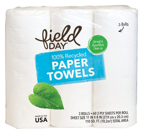 100% Recycled Paper Towels, 3ct
