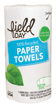 100% Recycled Paper Towels, Custom Size, Single Roll