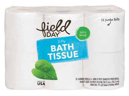 100% Recycled 2-Ply Double Roll Bath Tissue, 12ct