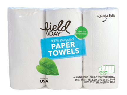 100% Recycled Paper Towels, Custom Sizes, Jumbo, 6ct